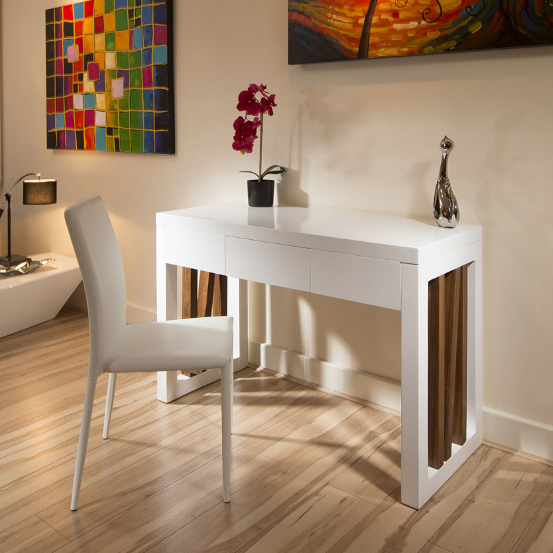Modern White Dressing Table: Modern White Gloss / Walnut Dressing Table With Drawer