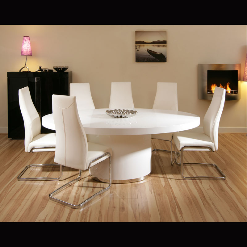 Modern Oval White High Gloss Glossy Lacquer Coffee Table: Modern Large Oval White Gloss Dining Table With 6 High