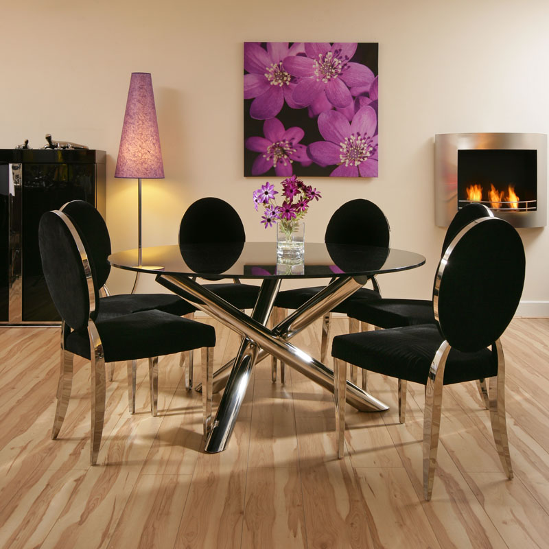 Dining Set Black Glass Round Table 6 Luxury Black Chrome Chairs EBay