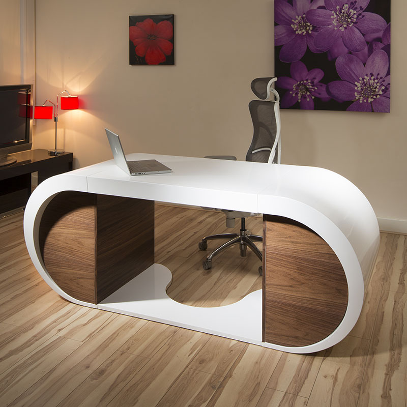 Large Modern Designer Desk Work Station White Gloss Glossy Walnut  modern. Modern White Desks