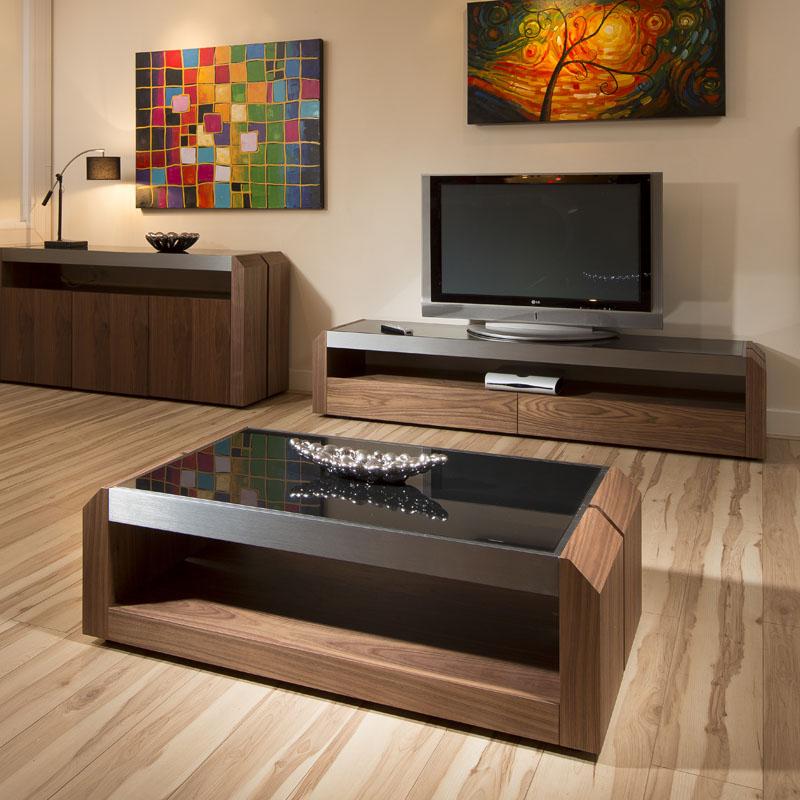 Large Walnut Glass Rectangular Coffee Table Modern