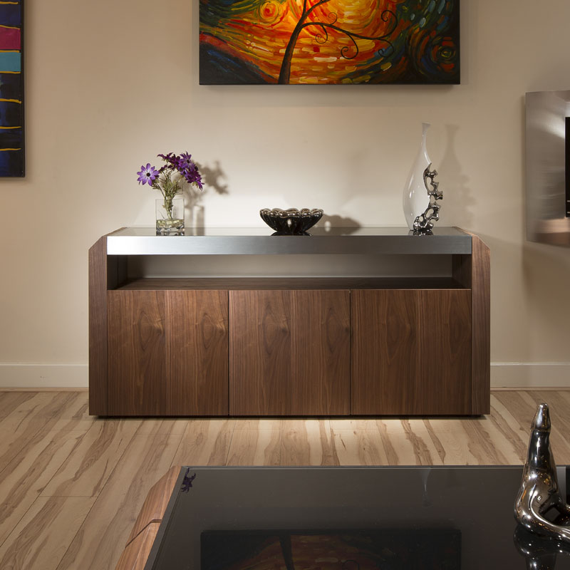 Modern Dining Room Cabinets: Modern Walnut Sideboard/Cabinet/Buffet Black Glass Top 1