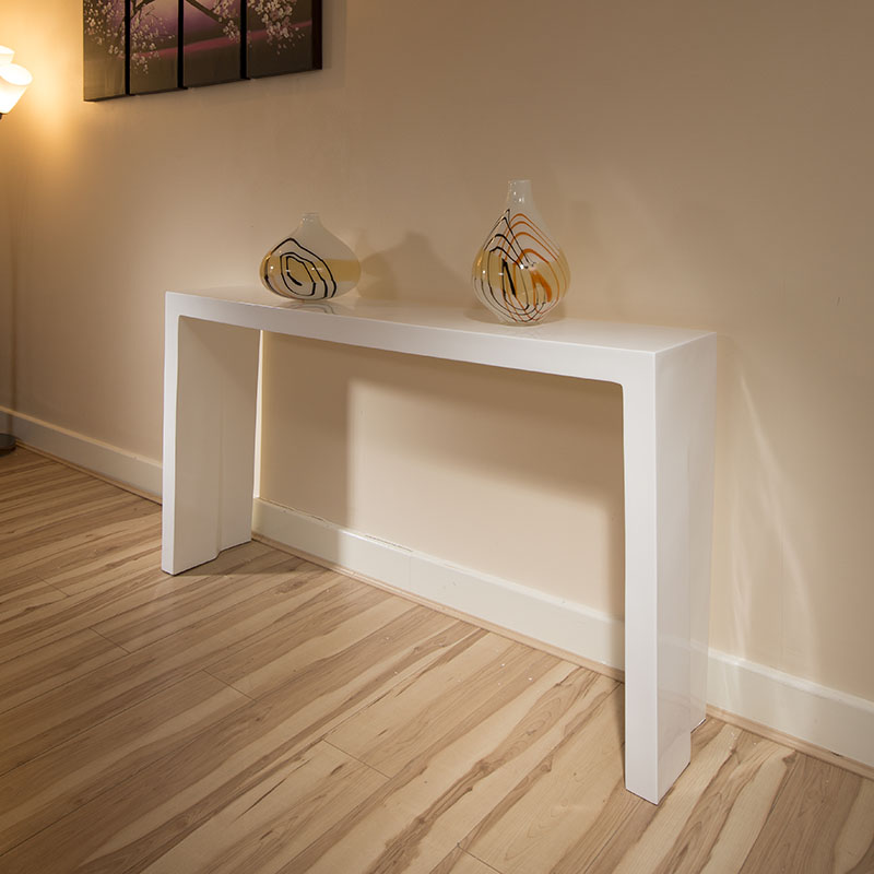 Modern White Foyer Table : Ultra modern console hall occasional table white gloss
