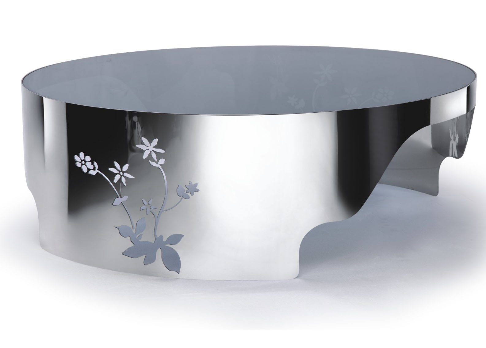 Designer Large Round Coffee Table Glass Top Stainless Steel 119 EBay