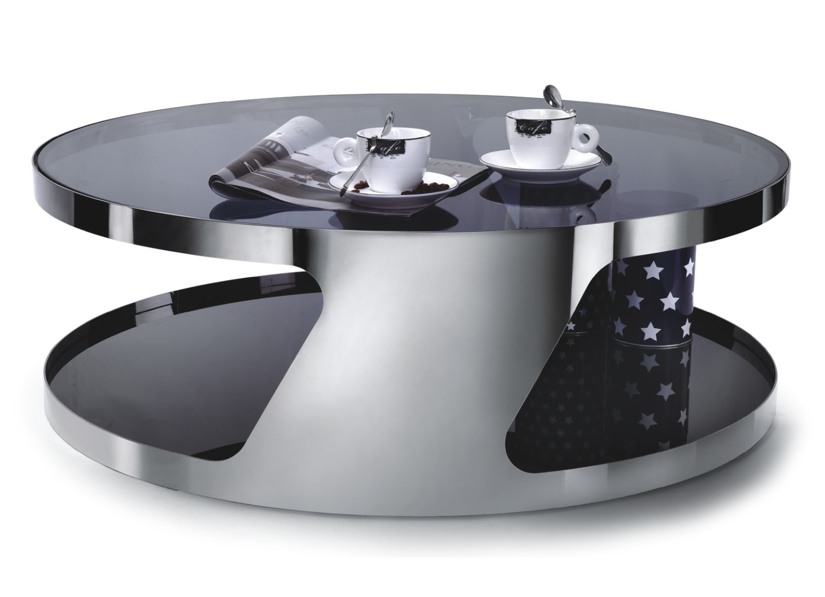 Designer Large Round Coffee Table Glass Top Stainless Steel 126 EBay