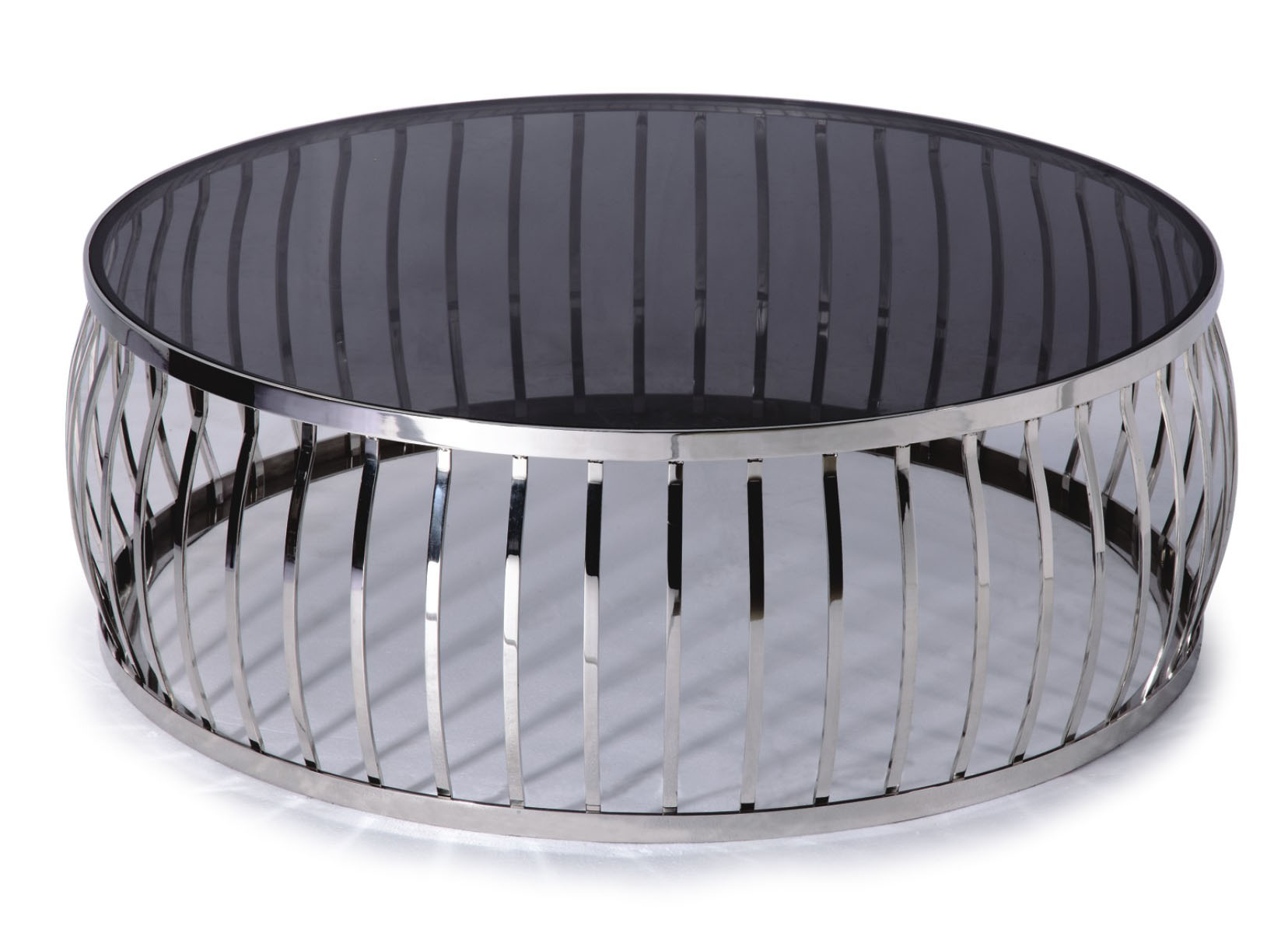 Designer Large Round Coffee Table Glass Top Stainless Steel 165 EBay