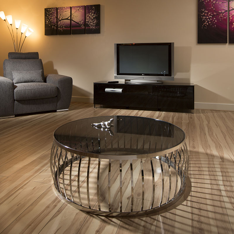 modern designer large round coffee table glass top stainless steel 165 ebay. Black Bedroom Furniture Sets. Home Design Ideas