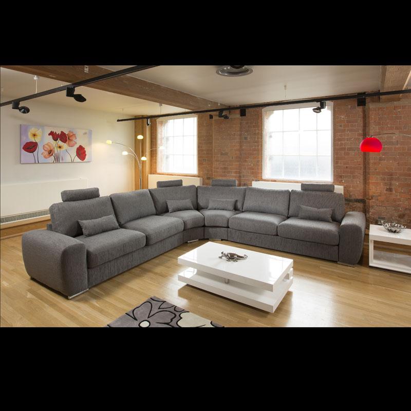 Huge Large Modern L Shape Quality Sofa Settee Corner Group Grey 20