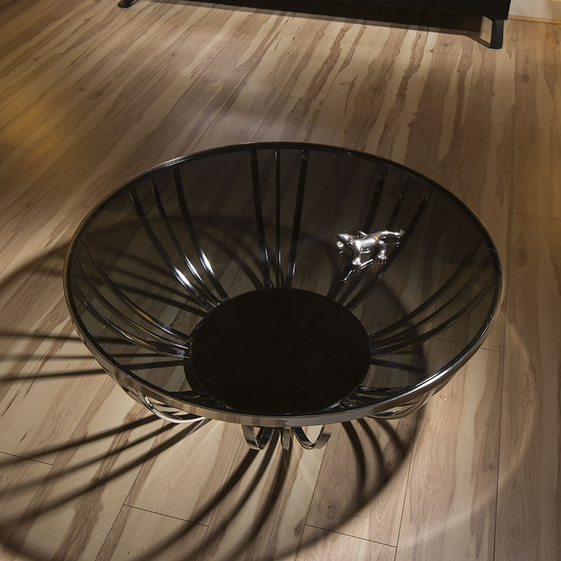 Modern Designer Large Round Coffee Table Glass Top Stainless Steel 201 Ebay
