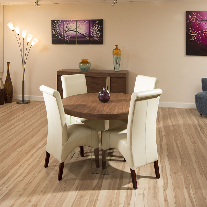 Round Modern Dining Set Walnut / Glass Table 4 X Ivory