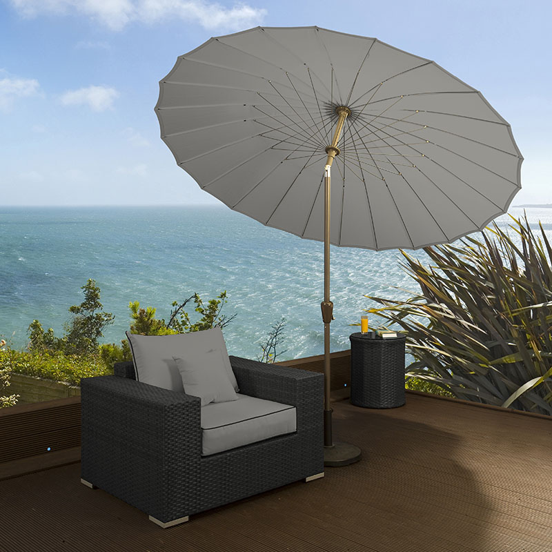 luxury round grey angled shanghai parasol umbrella rattan. Black Bedroom Furniture Sets. Home Design Ideas