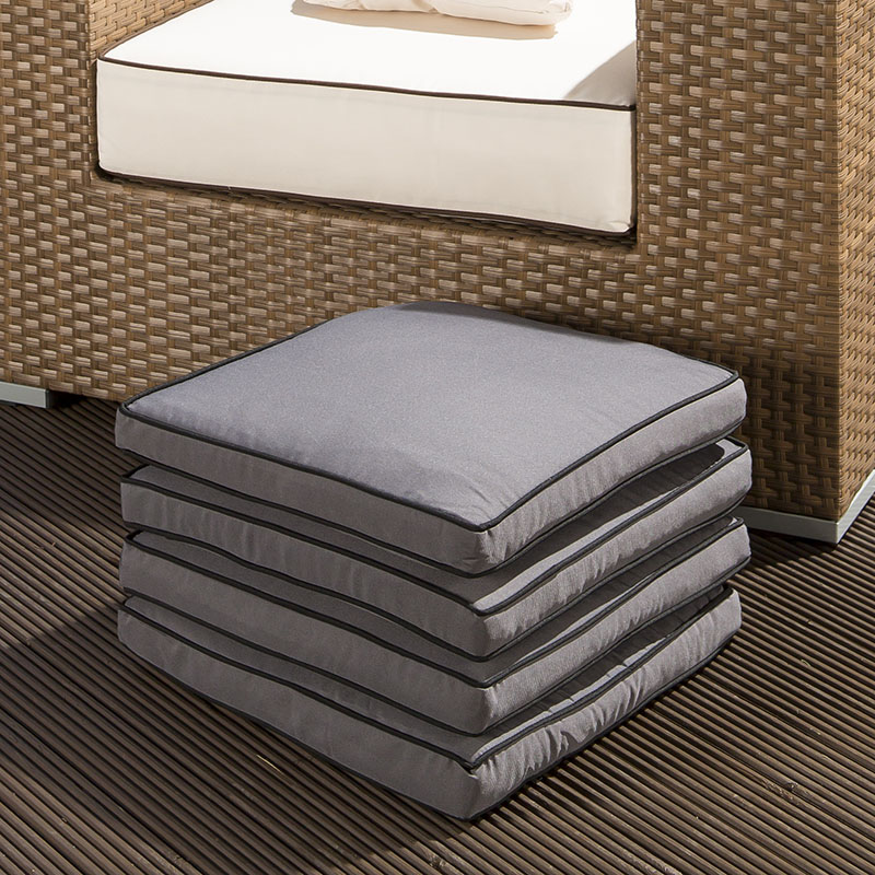 Set Of 4 Large Luxury Outdoor Garden Dining Chair Cushion In Grey EBay