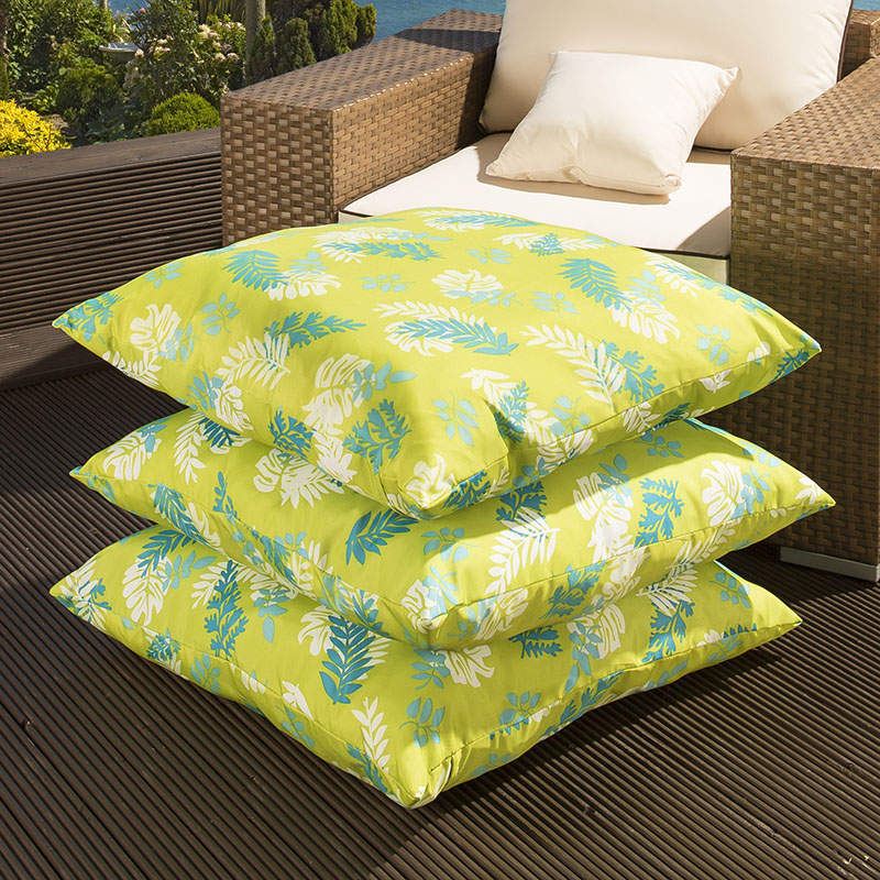 Set Of 3 Extra Large Outdoor Scatter Cushions Light Green Pattern EBay