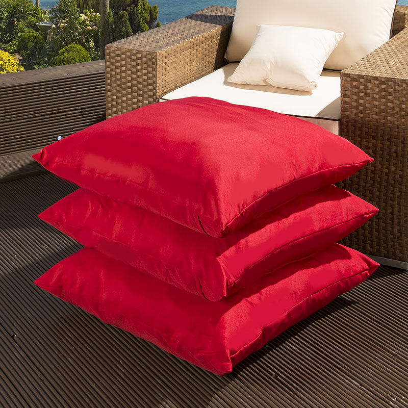 Set of 3 Extra Large Luxury Outdoor / Garden Scatter Cushions in Red