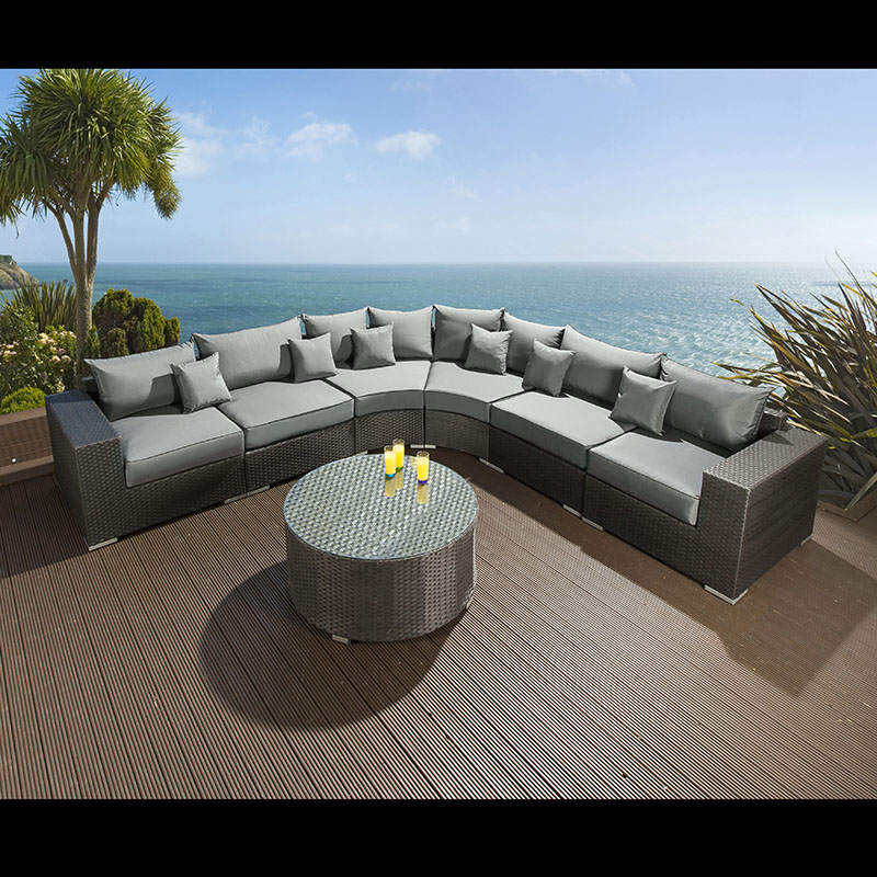 extra large outdoor garden 8 seater corner sofa group black rattan 4 ebay. Black Bedroom Furniture Sets. Home Design Ideas