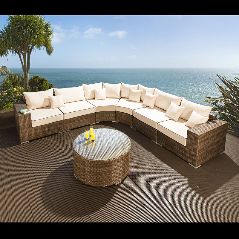 extra large outdoor garden 8 seater corner sofa group brown rattan 4 ebay. Black Bedroom Furniture Sets. Home Design Ideas