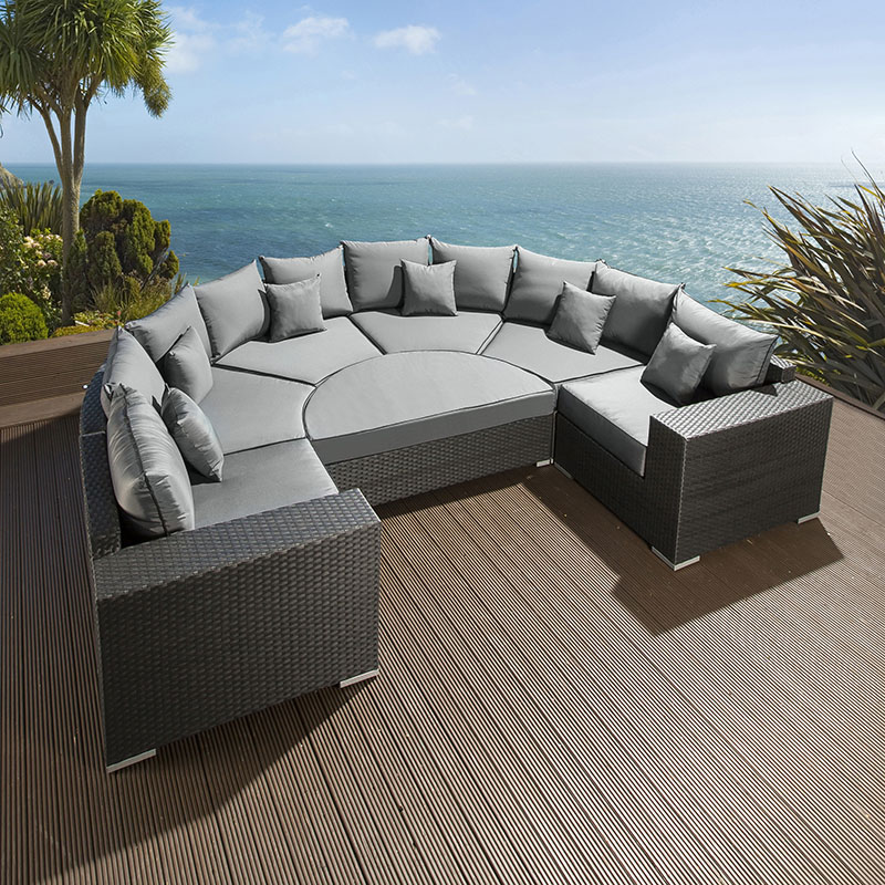 Large Outdoor Garden U Shape 8 Seater Sofa Group Black Rattan Wicker 6 Ebay