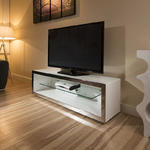 View Item TV Stand / Cabinet/Unit Large 1.5mtr White Gloss Stainless Modern 182F