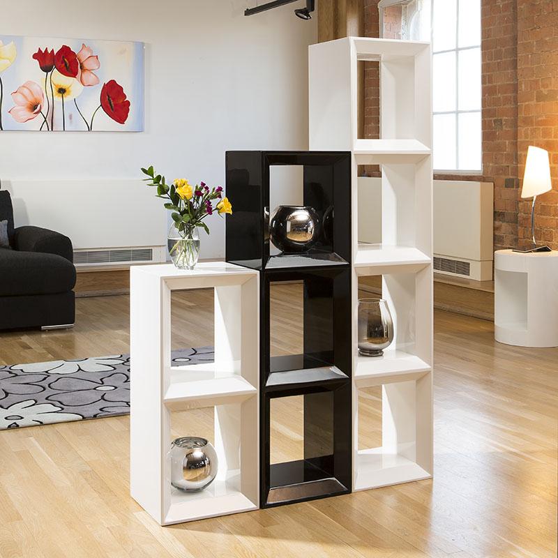 Modern White/Black Gloss Bookcase / Display Cabinet