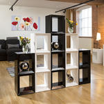 View Item Large Black/White Gloss Bookcase / Display Cabinet / Shelving Combo 2