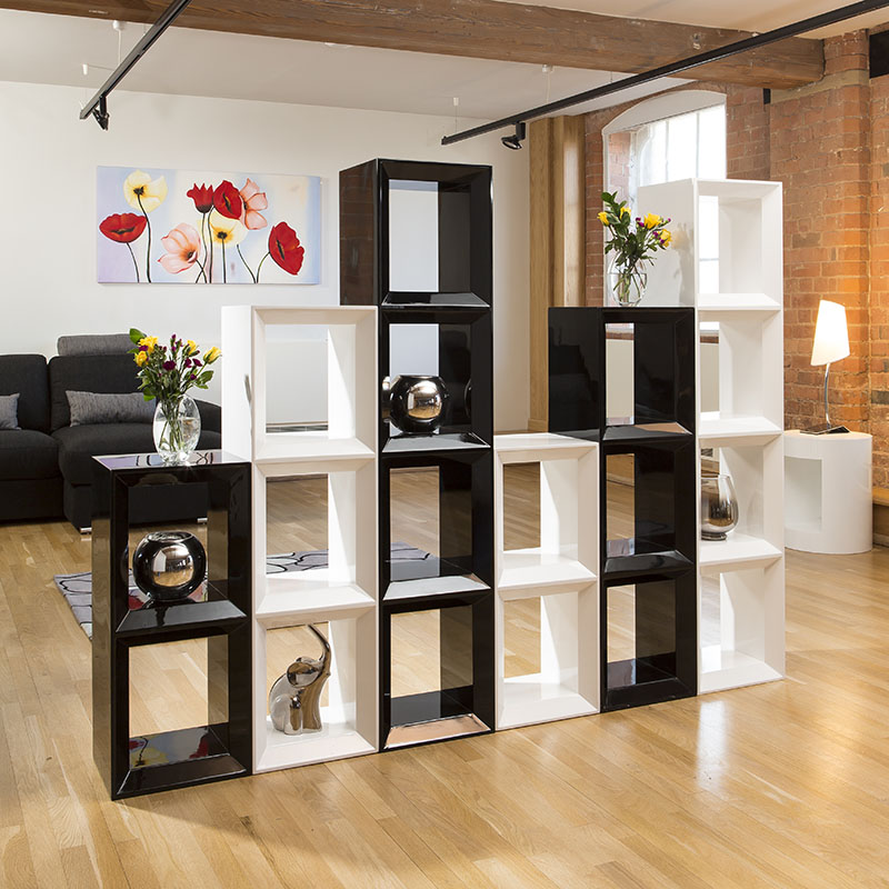 Large Black/White Gloss Bookcase / Display Cabinet