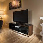 View Item TV Stand /Cabinet/Unit Large 1.5mtr Walnut/Glass/Stainless Modern 182F