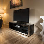 View Item TV Stand / Cabinet/Unit Large 1.5mtr Black Gloss/Stainless Modern 182F