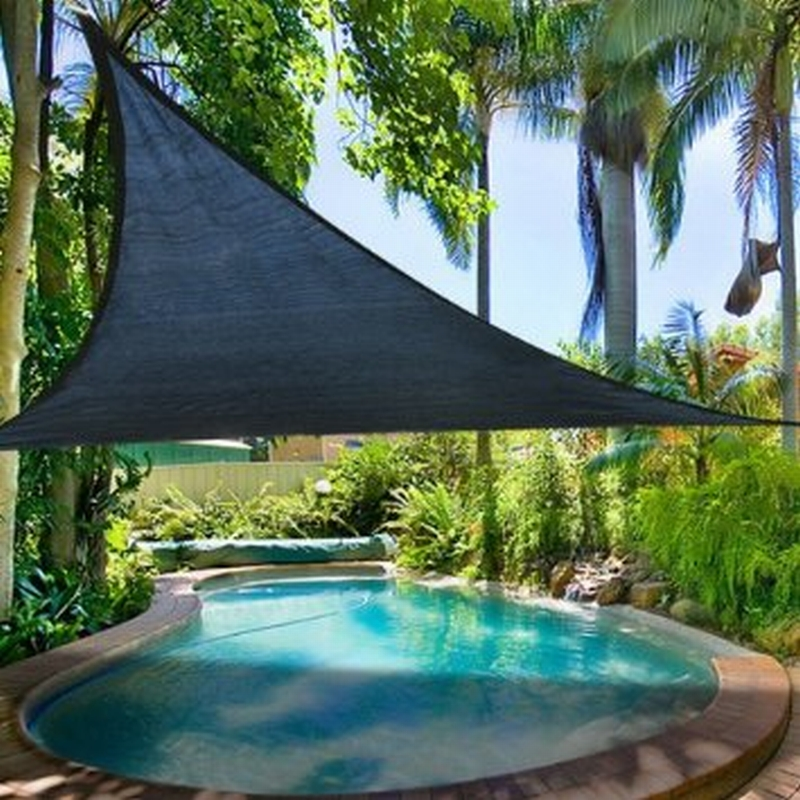 Garden SunRain Shade Sail Triangular Black Cover UV Protection 5 mtr