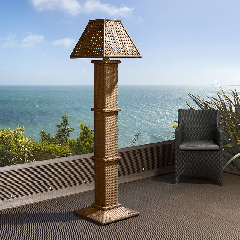 Luxury garden grey brown solar powered tall lamp light for Tall landscape lights