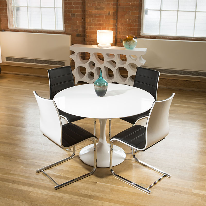 Tulip Style Round Dining Table White Gloss 4 Black White Chairs Ebay