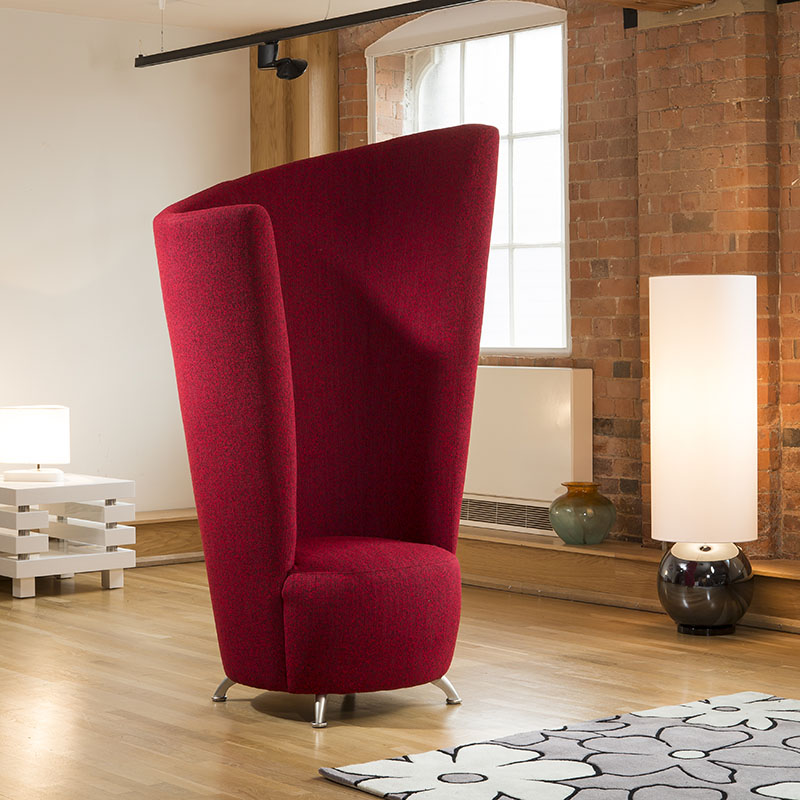 Modern Massive 6ft High Curved Red Fabric Armchair Tub