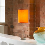 View Item Orange Fabric Shade Table / Desk Lamp / Light Bedside Modern New 852