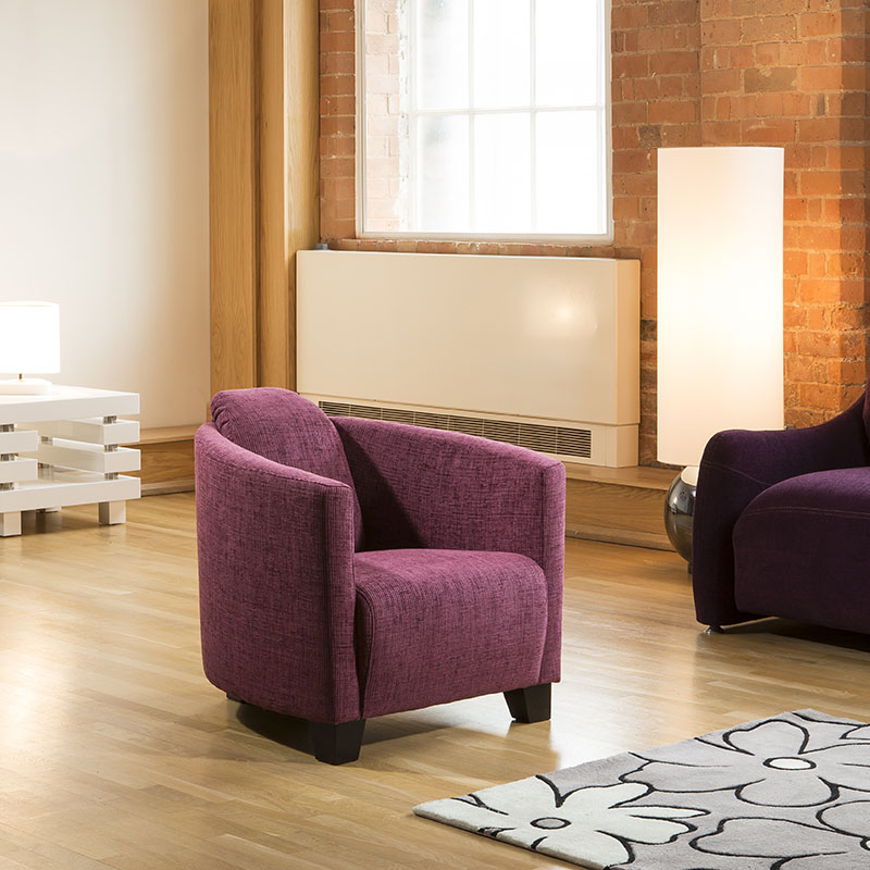 Modern Large Purple / Plum Fabric Armchair / Tub Chair New ...