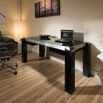 View Item Modern Designer Desk/Work Station Black Gloss / Black Glass Top 1.8Mt