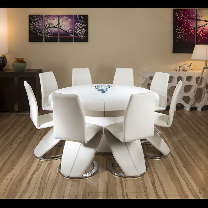 Large round white gloss dining table 8 white z shape for Z shaped dining room chairs