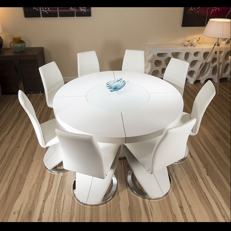 Large Round White Gloss Dining Table 8 White Z Shape Dining Chairs Ebay