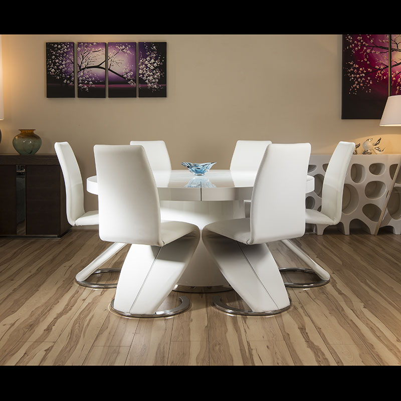 Large round white gloss dining table 6 white z shape for Z shaped dining room chairs
