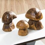View Item Enchanting Solid Trembesi Wood Set of 3 Outdoor / Indoor Mushrooms New