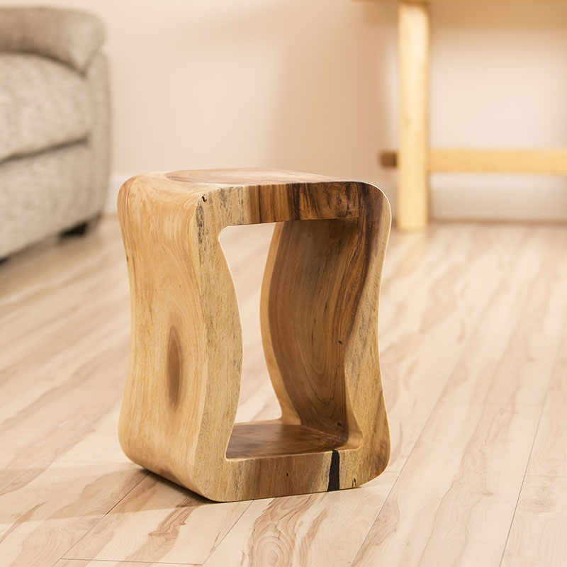 enchanting shaped solid trembesi wood side lamp end table new nw35 ebay. Black Bedroom Furniture Sets. Home Design Ideas