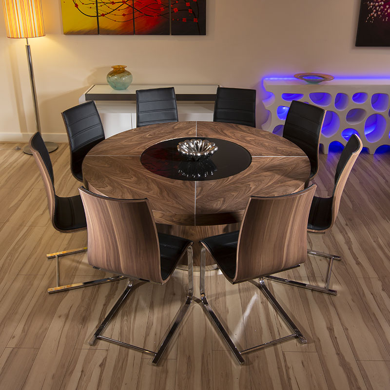 large round walnut dining table set with 8 walnut black chrome chairs