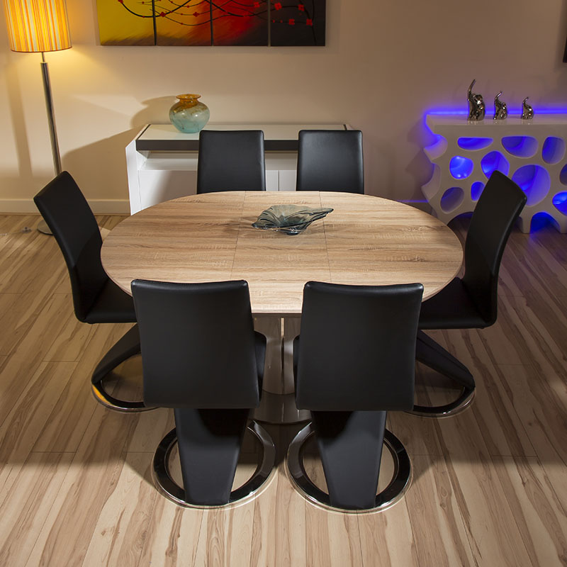 Round Table And Chairs For 6: Modern Dining Set Round/Oval Extending Table +6 High Black