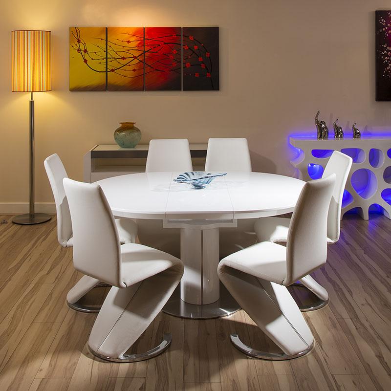 Modern dining set white gloss round oval extending table 6 for Modern round dining table for 6