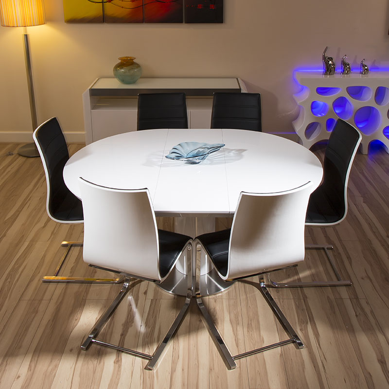 white gloss extending dining table and 6 chairs