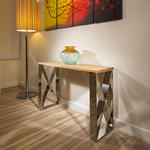 View Item Modern Designer Console / Hall / Occasional Table Oak / Stainless 7102