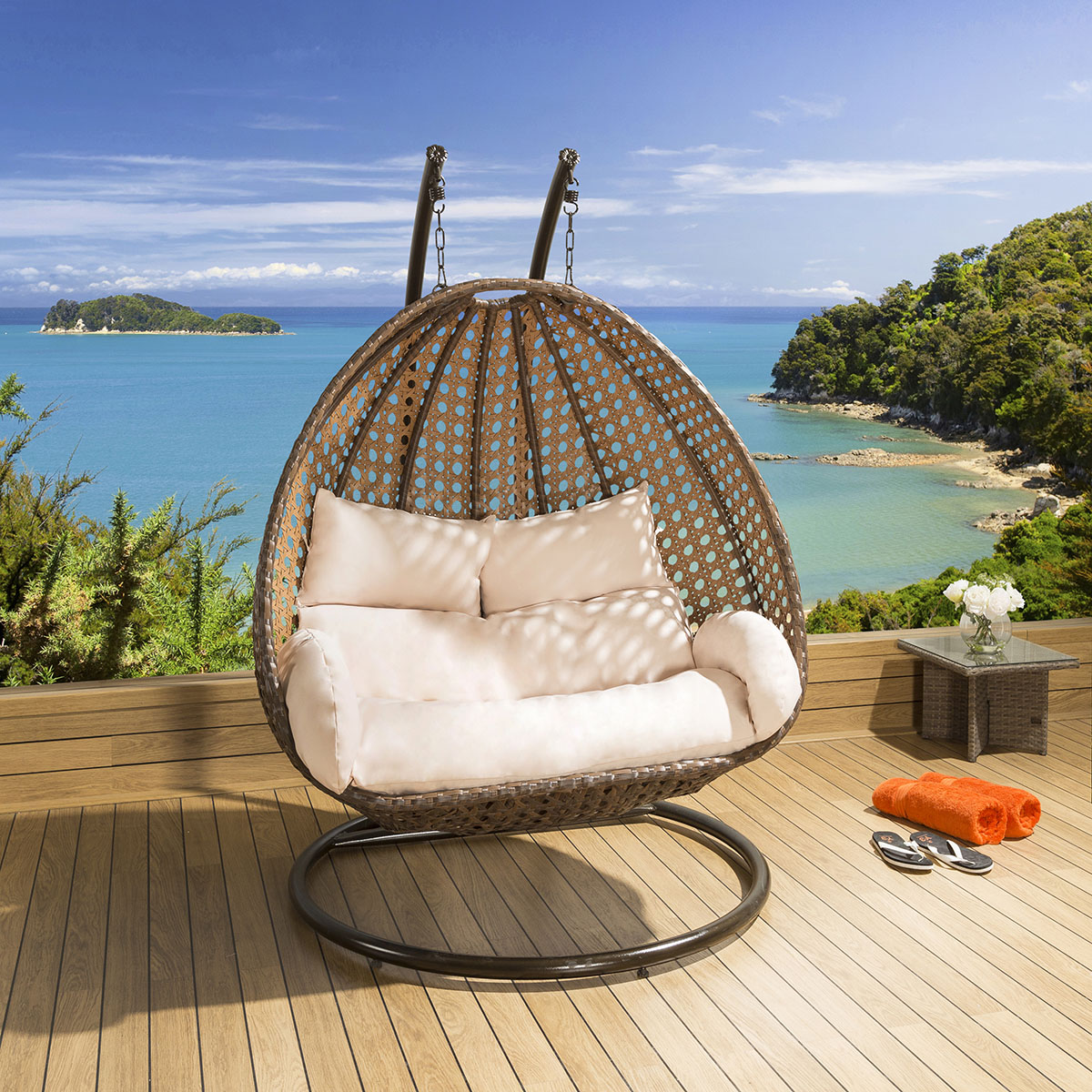 Outdoor 2 Person Garden Hanging Chair Brown Rattan Cream