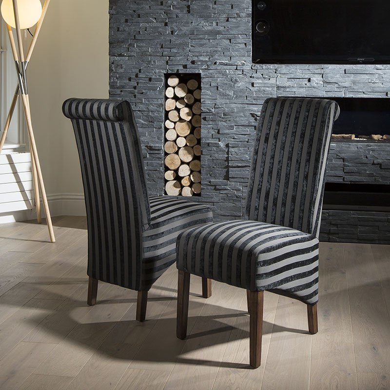 Luxury set of 2 high back fabric dining chairs black v for High back fabric dining room chairs
