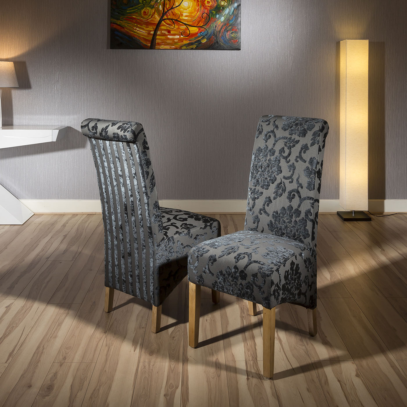 Luxury Set Of 2 High Back Fabric Dining Chairs Black Grey