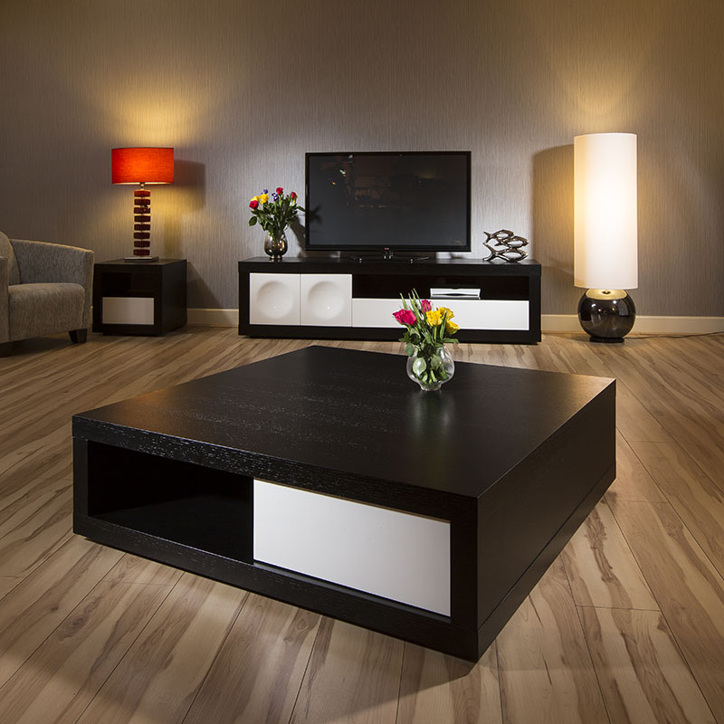 Oak White High Gloss Coffee Table: Large Square Designer Coffee Table Black Oak / White Gloss