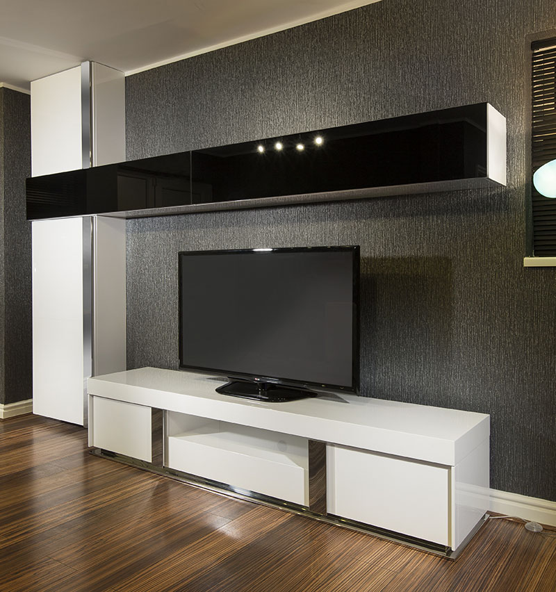 large tv stand wall mounted storage cabinet black glass white gloss ebay. Black Bedroom Furniture Sets. Home Design Ideas