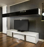 View Item Large TV Stand & Wall Mounted Storage Cabinet Black Glass White Gloss